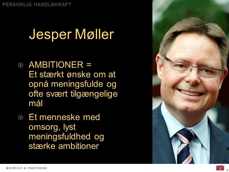 PERSONLIG HANDLEKRAFT 8  AMBITIONER = Et stærkt ønske om at opnå meningsfulde og ofte svært tilgængelige mål  Et menneske med omsorg, lyst meningsfuldhed og stærke ambitioner Jesper Møller