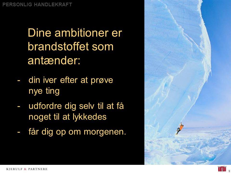 PERSONLIG HANDLEKRAFT 9 Dine ambitioner er brandstoffet som antænder: -din iver efter at prøve nye ting -udfordre dig selv til at få noget til at lykkedes -får dig op om morgenen.