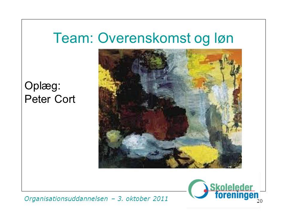 Organisationsuddannelsen – 3. oktober 2011 Team: Overenskomst og løn Oplæg: Peter Cort 20