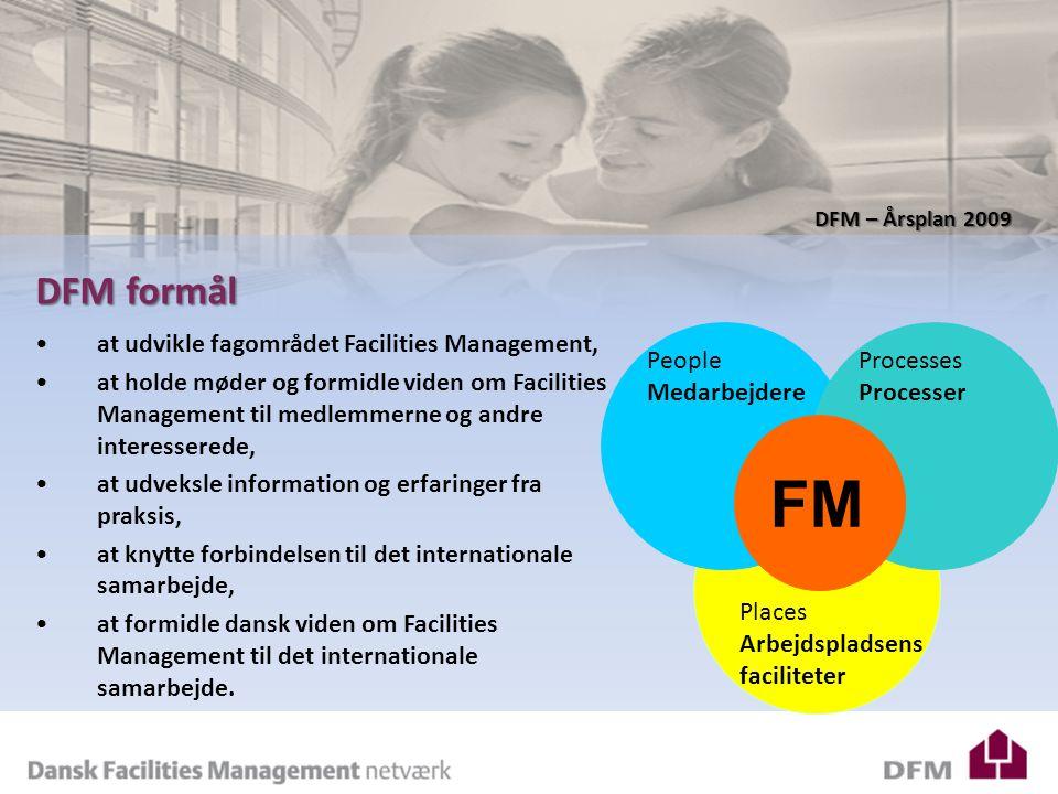 DFM – Årsplan 2009 DFM formål at udvikle fagområdet Facilities Management, at holde møder og formidle viden om Facilities Management til medlemmerne og andre interesserede, at udveksle information og erfaringer fra praksis, at knytte forbindelsen til det internationale samarbejde, at formidle dansk viden om Facilities Management til det internationale samarbejde.