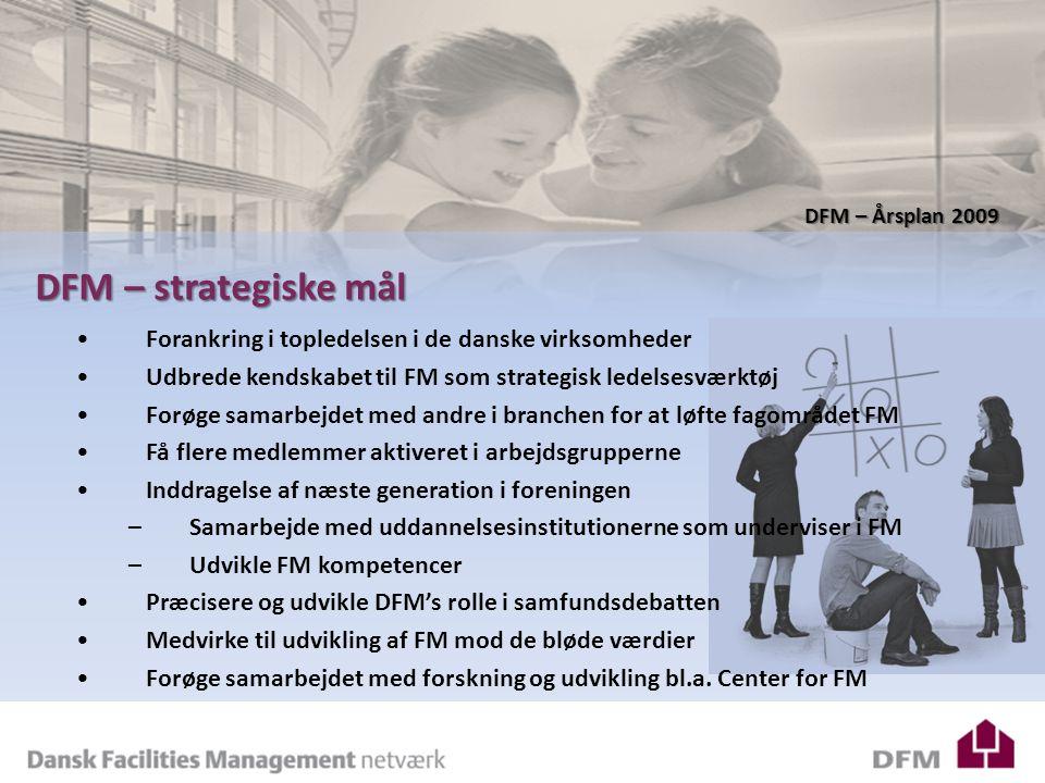 DFM – Årsplan 2009 DFM – strategiske mål Forankring i topledelsen i de danske virksomheder Udbrede kendskabet til FM som strategisk ledelsesværktøj Forøge samarbejdet med andre i branchen for at løfte fagområdet FM Få flere medlemmer aktiveret i arbejdsgrupperne Inddragelse af næste generation i foreningen –Samarbejde med uddannelsesinstitutionerne som underviser i FM –Udvikle FM kompetencer Præcisere og udvikle DFM's rolle i samfundsdebatten Medvirke til udvikling af FM mod de bløde værdier Forøge samarbejdet med forskning og udvikling bl.a.