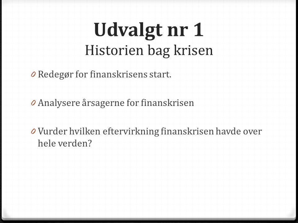 Udvalgt nr 1 Historien bag krisen 0 Redegør for finanskrisens start.