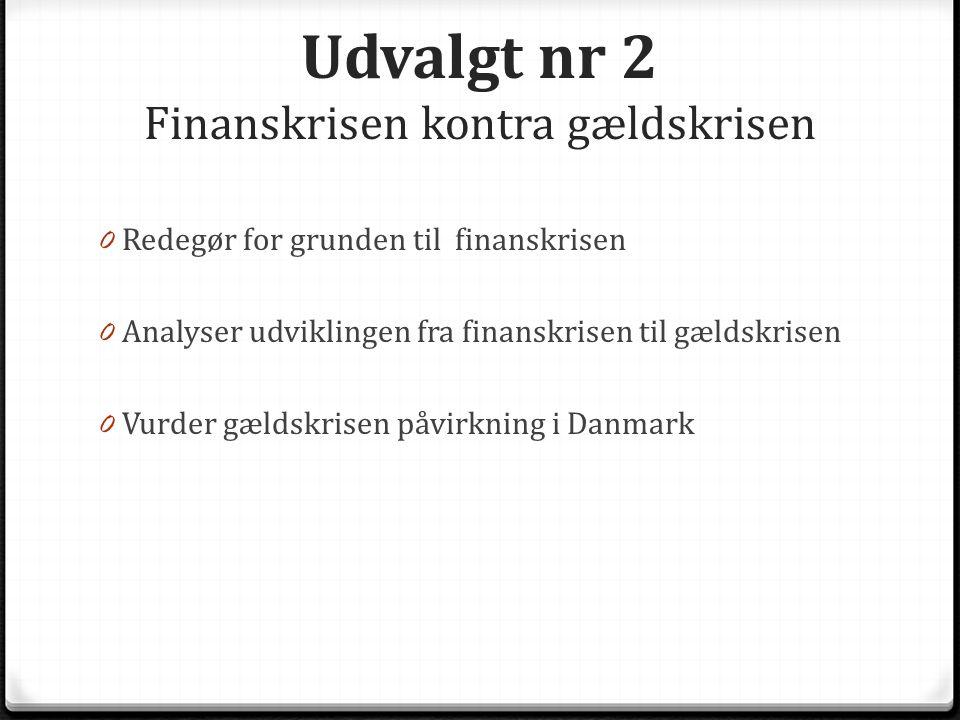 Udvalgt nr 2 Finanskrisen kontra gældskrisen 0 Redegør for grunden til finanskrisen 0 Analyser udviklingen fra finanskrisen til gældskrisen 0 Vurder gældskrisen påvirkning i Danmark