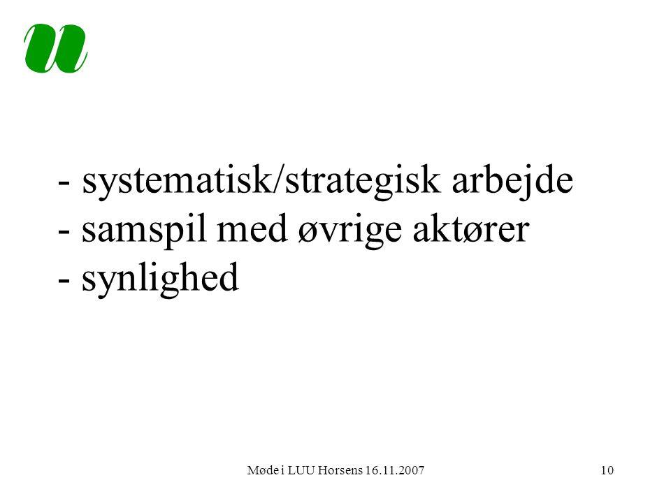 Møde i LUU Horsens 16.11.200710 - systematisk/strategisk arbejde - samspil med øvrige aktører - synlighed