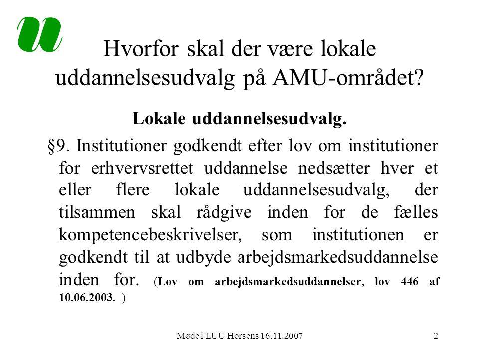 Møde i LUU Horsens 16.11.20072 Hvorfor skal der være lokale uddannelsesudvalg på AMU-området.