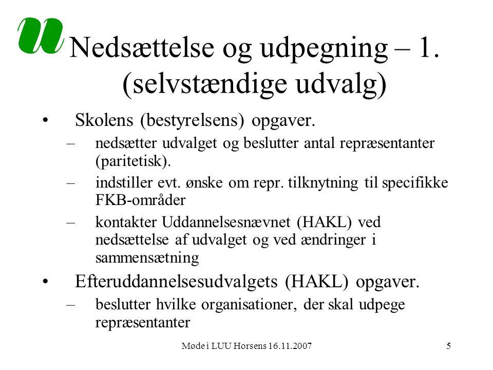 Møde i LUU Horsens 16.11.20075 Nedsættelse og udpegning – 1.