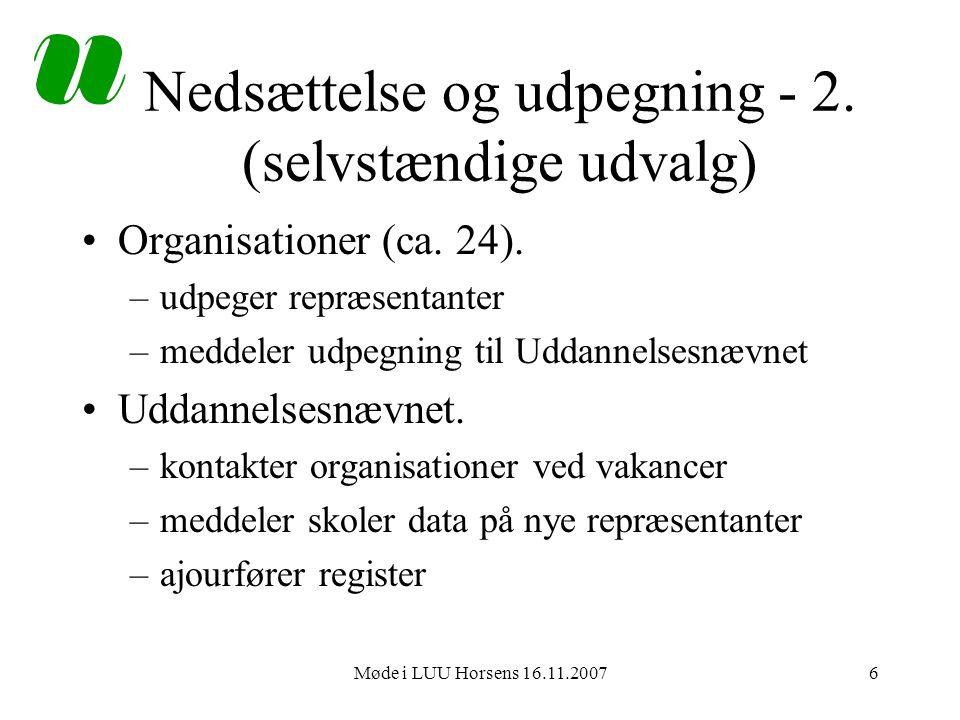 Møde i LUU Horsens 16.11.20076 Nedsættelse og udpegning - 2.
