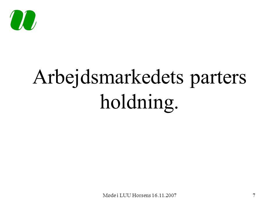 Møde i LUU Horsens 16.11.20077 Arbejdsmarkedets parters holdning.