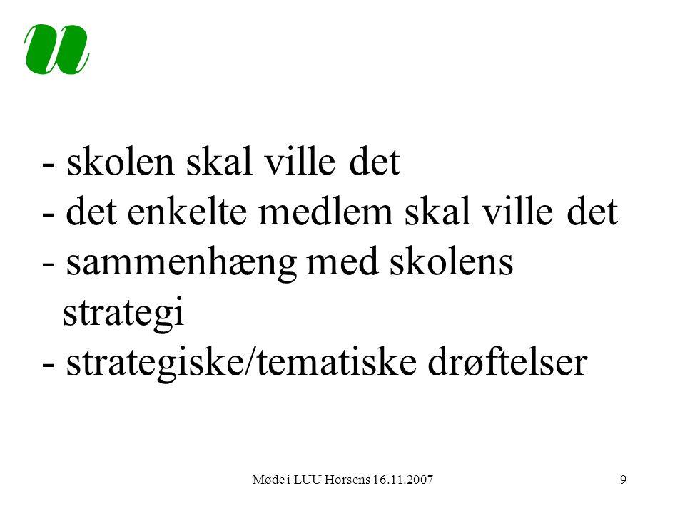 Møde i LUU Horsens 16.11.20079 - skolen skal ville det - det enkelte medlem skal ville det - sammenhæng med skolens strategi - strategiske/tematiske drøftelser
