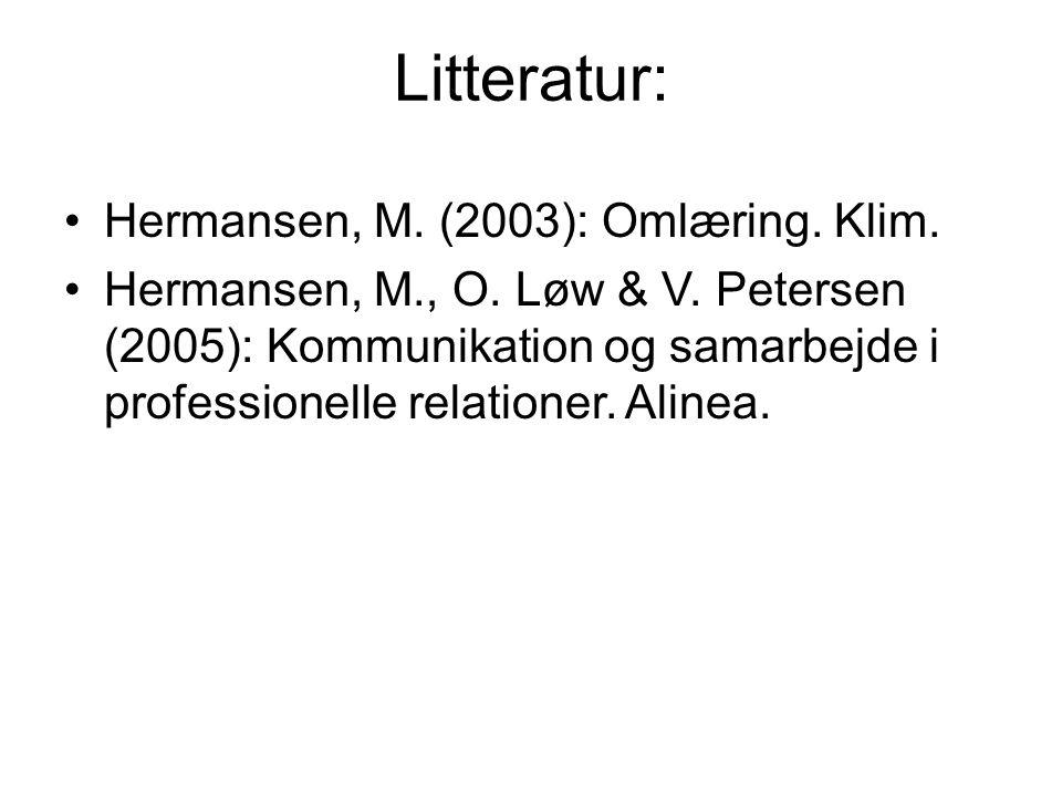 Litteratur: Hermansen, M. (2003): Omlæring. Klim.