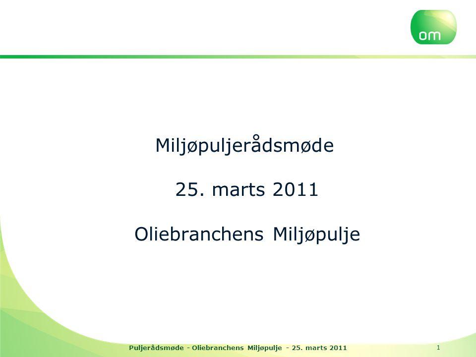 Puljerådsmøde - Oliebranchens Miljøpulje - 25. marts 2011 Miljøpuljerådsmøde 25.