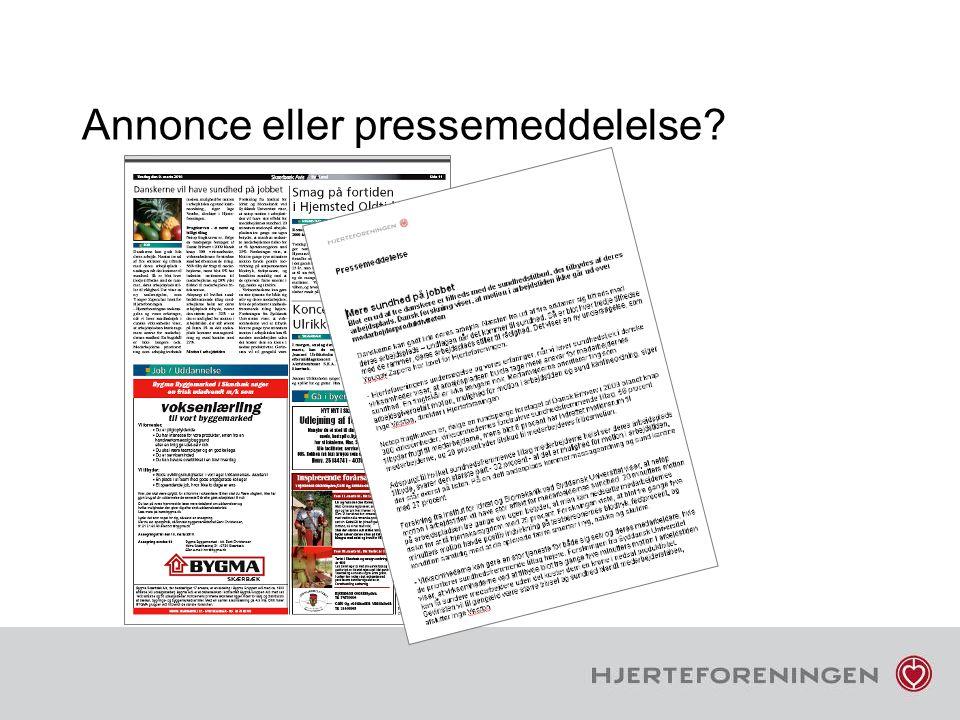 Annonce eller pressemeddelelse