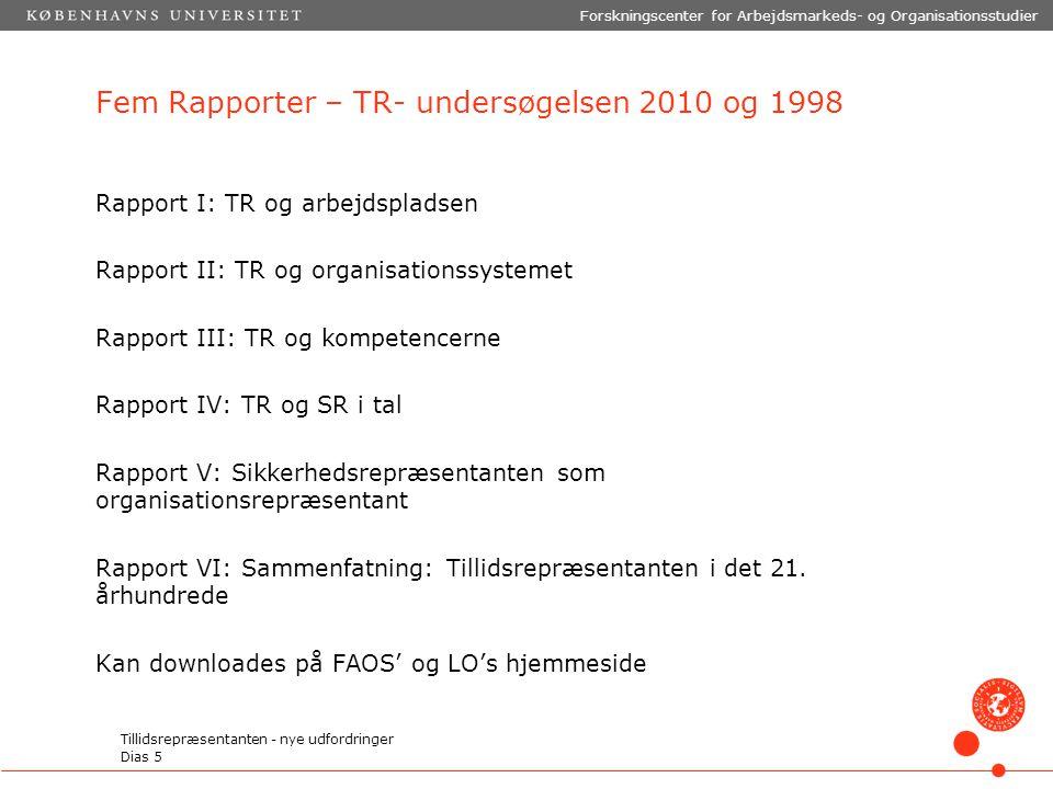Fem Rapporter – TR- undersøgelsen 2010 og 1998 Rapport I: TR og arbejdspladsen Rapport II: TR og organisationssystemet Rapport III: TR og kompetencerne Rapport IV: TR og SR i tal Rapport V: Sikkerhedsrepræsentanten som organisationsrepræsentant Rapport VI: Sammenfatning: Tillidsrepræsentanten i det 21.