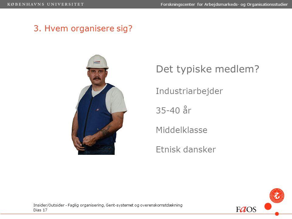 Dias 17 Forskningscenter for Arbejdsmarkeds- og Organisationsstudier Insider/Outsider - Faglig organisering, Gent-systemet og overenskomstdækning 3.