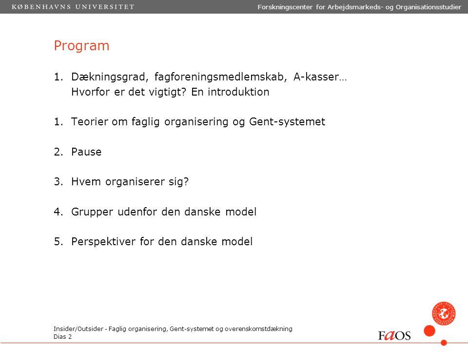 Dias 2 Forskningscenter for Arbejdsmarkeds- og Organisationsstudier Insider/Outsider - Faglig organisering, Gent-systemet og overenskomstdækning Program 1.Dækningsgrad, fagforeningsmedlemskab, A-kasser… Hvorfor er det vigtigt.