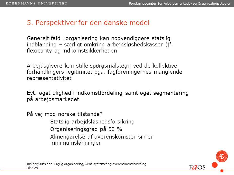 Dias 29 Forskningscenter for Arbejdsmarkeds- og Organisationsstudier Insider/Outsider - Faglig organisering, Gent-systemet og overenskomstdækning 5.