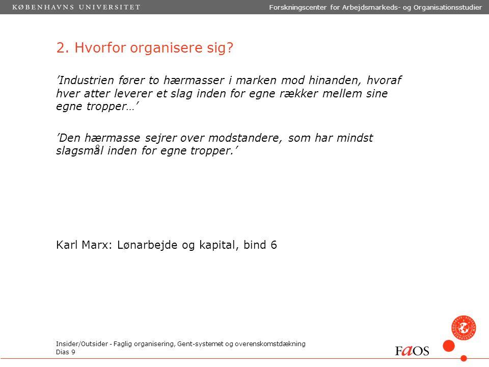 Dias 9 Forskningscenter for Arbejdsmarkeds- og Organisationsstudier Insider/Outsider - Faglig organisering, Gent-systemet og overenskomstdækning 2.