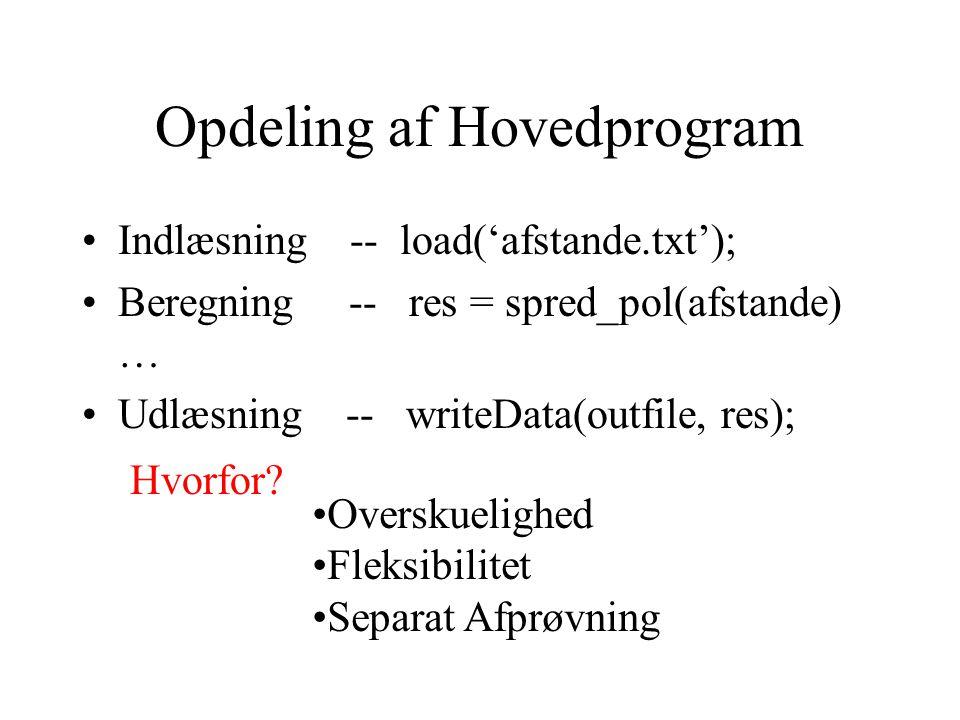 Opdeling af Hovedprogram Indlæsning -- load('afstande.txt'); Beregning -- res = spred_pol(afstande) … Udlæsning -- writeData(outfile, res); Hvorfor.