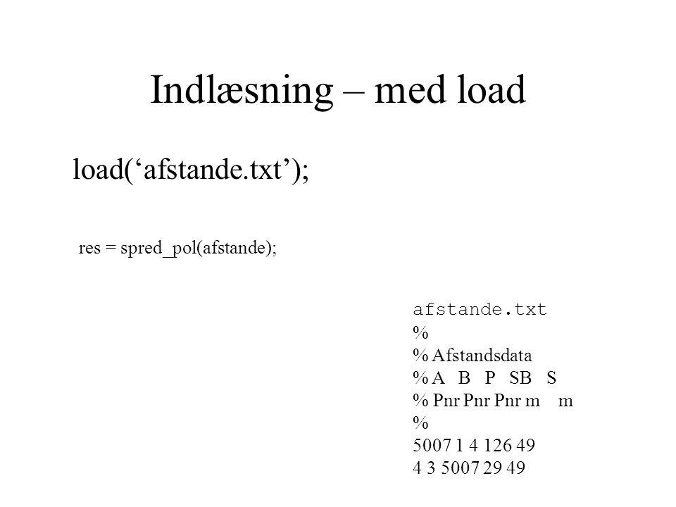 Indlæsning – med load load('afstande.txt'); afstande.txt % % Afstandsdata % A B P SB S % Pnr Pnr Pnr m m % 5007 1 4 126 49 4 3 5007 29 49 res = spred_pol(afstande);