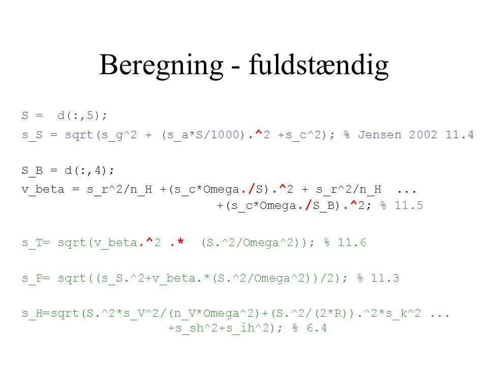 Beregning - fuldstændig S = d(:,5); s_S = sqrt(s_g^2 + (s_a*S/1000).^ 2 +s_c^2); % Jensen 2002 11.4 S_B = d(:,4); v_beta = s_r^2/n_H +(s_c*Omega./ S).^ 2 + s_r^2/n_H...