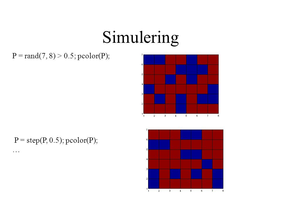 Simulering P = rand(7, 8) > 0.5; pcolor(P); P = step(P, 0.5); pcolor(P); …