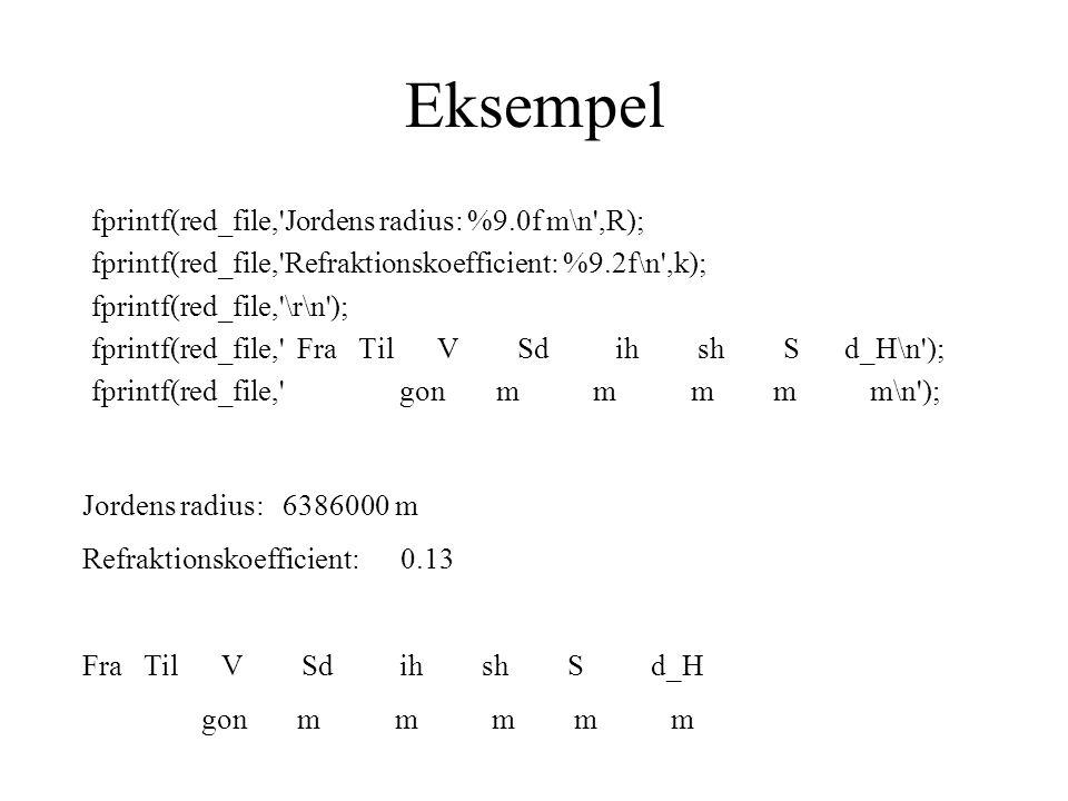 Eksempel fprintf(red_file, Jordens radius: %9.0f m\n ,R); fprintf(red_file, Refraktionskoefficient: %9.2f\n ,k); fprintf(red_file, \r\n ); fprintf(red_file, Fra Til V Sd ih sh S d_H\n ); fprintf(red_file, gon m m m m m\n ); Jordens radius: 6386000 m Refraktionskoefficient: 0.13 Fra Til V Sd ih sh S d_H gon m m m m m
