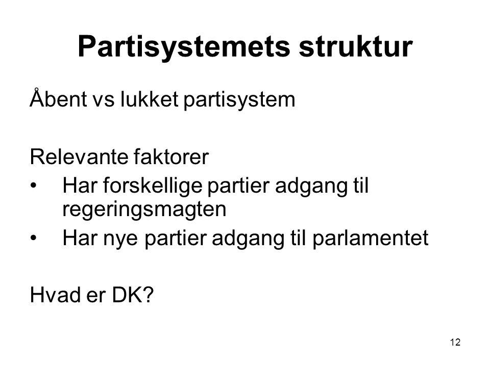 12 Partisystemets struktur Åbent vs lukket partisystem Relevante faktorer Har forskellige partier adgang til regeringsmagten Har nye partier adgang til parlamentet Hvad er DK