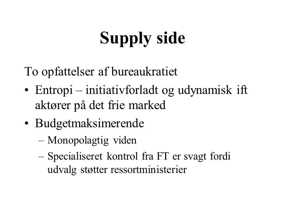 Supply side To opfattelser af bureaukratiet Entropi – initiativforladt og udynamisk ift aktører på det frie marked Budgetmaksimerende –Monopolagtig viden –Specialiseret kontrol fra FT er svagt fordi udvalg støtter ressortministerier