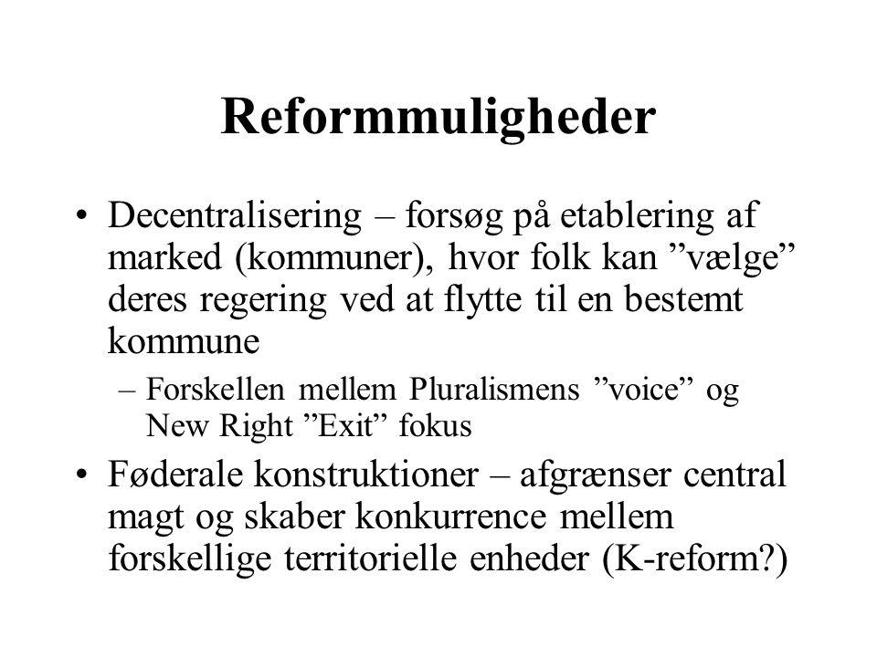 Reformmuligheder Decentralisering – forsøg på etablering af marked (kommuner), hvor folk kan vælge deres regering ved at flytte til en bestemt kommune –Forskellen mellem Pluralismens voice og New Right Exit fokus Føderale konstruktioner – afgrænser central magt og skaber konkurrence mellem forskellige territorielle enheder (K-reform )