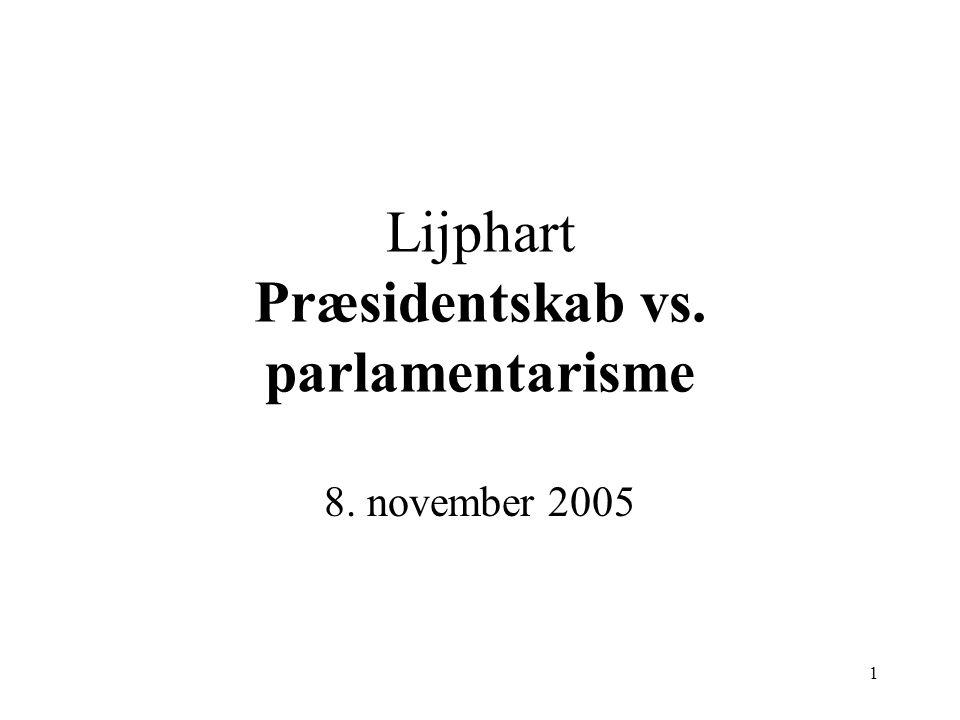 1 Lijphart Præsidentskab vs. parlamentarisme 8. november 2005