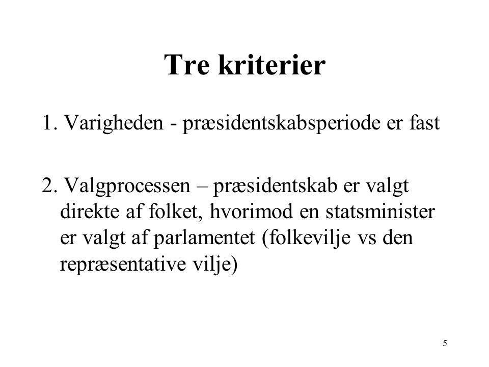 5 Tre kriterier 1. Varigheden - præsidentskabsperiode er fast 2.