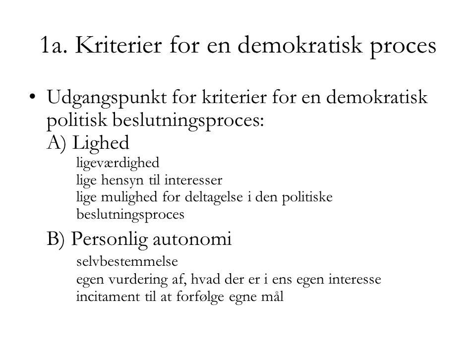 1a. Kriterier for en demokratisk proces Udgangspunkt for kriterier for en demokratisk politisk beslutningsproces: A) Lighed ligeværdighed lige hensyn