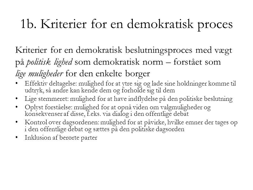 1b. Kriterier for en demokratisk proces Kriterier for en demokratisk beslutningsproces med vægt på politisk lighed som demokratisk norm – forstået som