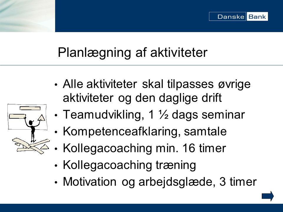 Planlægning af aktiviteter Alle aktiviteter skal tilpasses øvrige aktiviteter og den daglige drift Teamudvikling, 1 ½ dags seminar Kompetenceafklaring, samtale Kollegacoaching min.
