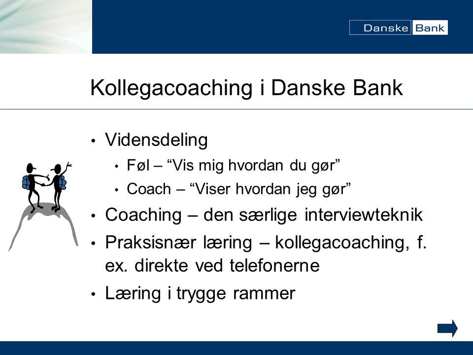 Kollegacoaching i Danske Bank Vidensdeling Føl – Vis mig hvordan du gør Coach – Viser hvordan jeg gør Coaching – den særlige interviewteknik Praksisnær læring – kollegacoaching, f.