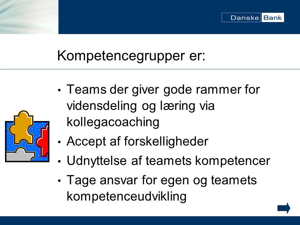 Kompetencegrupper er: Teams der giver gode rammer for vidensdeling og læring via kollegacoaching Accept af forskelligheder Udnyttelse af teamets kompetencer Tage ansvar for egen og teamets kompetenceudvikling
