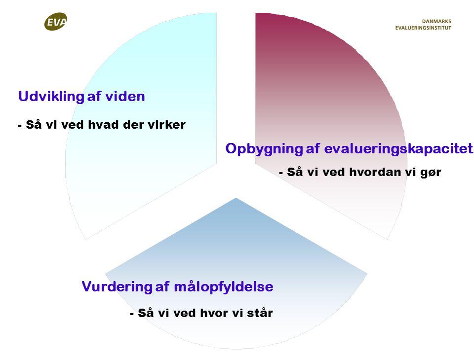 Udvikling af viden Vurdering af målopfyldelse Opbygning af evalueringskapacitet - Så vi ved hvor vi står - Så vi ved hvordan vi gør - Så vi ved hvad der virker