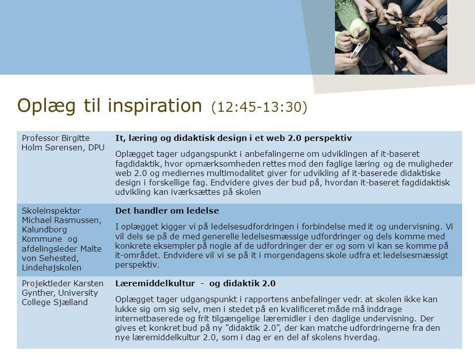 Professor Birgitte Holm Sørensen, DPU It, læring og didaktisk design i et web 2.0 perspektiv Oplægget tager udgangspunkt i anbefalingerne om udviklingen af it-baseret fagdidaktik, hvor opmærksomheden rettes mod den faglige læring og de muligheder web 2.0 og mediernes multimodalitet giver for udvikling af it-baserede didaktiske design i forskellige fag.