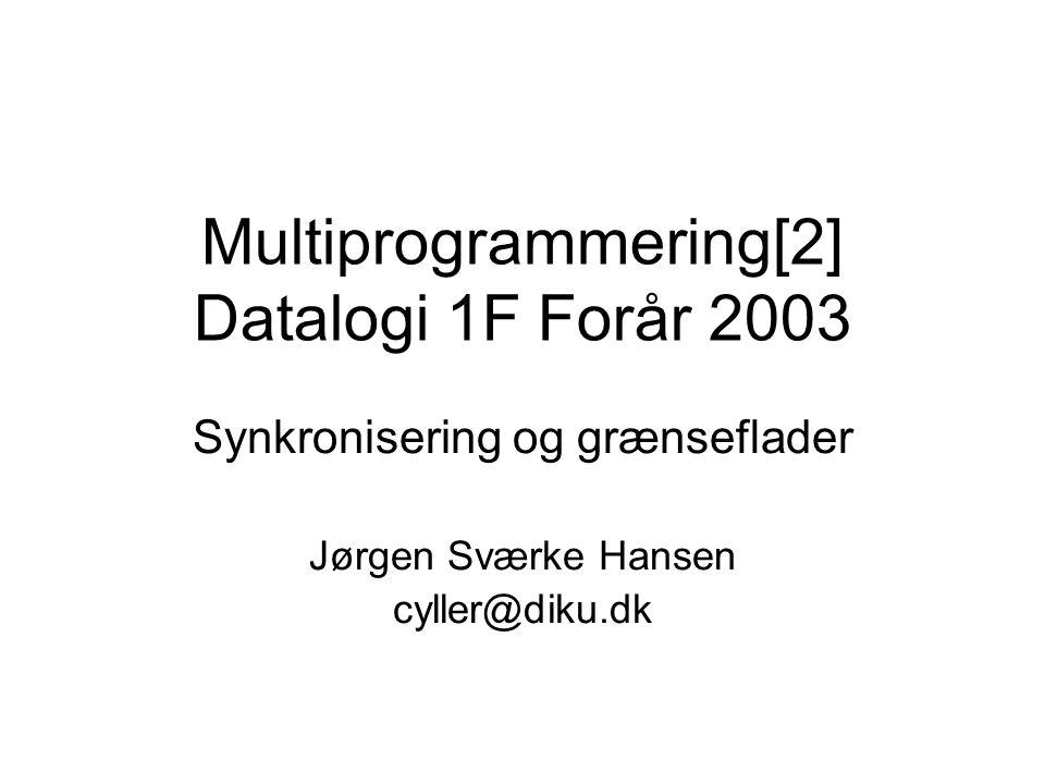 Multiprogrammering[2] Datalogi 1F Forår 2003 Synkronisering og grænseflader Jørgen Sværke Hansen cyller@diku.dk