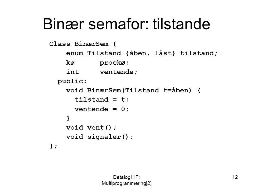 Datalogi 1F: Multiprogrammering[2] 12 Binær semafor: tilstande Class BinærSem { enum Tilstand {åben, låst} tilstand; kø prockø; intventende; public: void BinærSem(Tilstand t=åben) { tilstand = t; ventende = 0; } void vent(); void signaler(); };