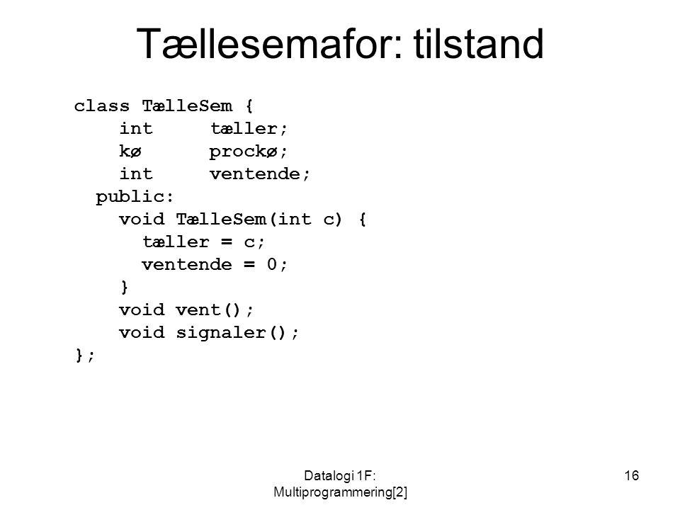 Datalogi 1F: Multiprogrammering[2] 16 Tællesemafor: tilstand class TælleSem { inttæller; kø prockø; intventende; public: void TælleSem(int c) { tæller = c; ventende = 0; } void vent(); void signaler(); };