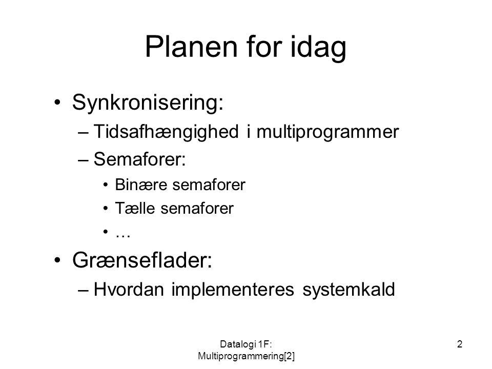 Datalogi 1F: Multiprogrammering[2] 2 Planen for idag Synkronisering: –Tidsafhængighed i multiprogrammer –Semaforer: Binære semaforer Tælle semaforer … Grænseflader: –Hvordan implementeres systemkald