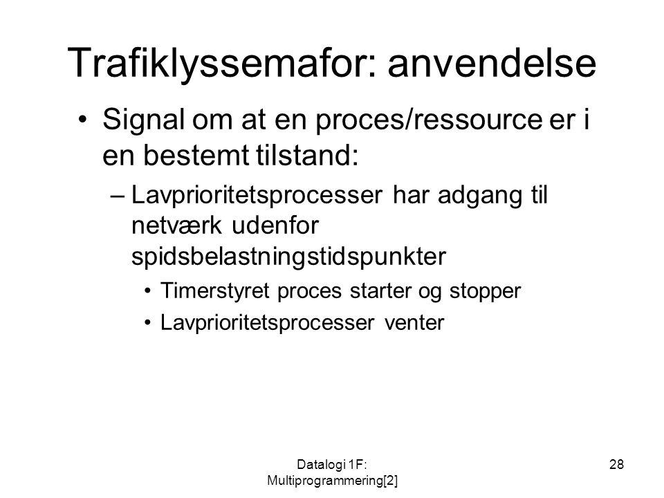 Datalogi 1F: Multiprogrammering[2] 28 Trafiklyssemafor: anvendelse Signal om at en proces/ressource er i en bestemt tilstand: –Lavprioritetsprocesser har adgang til netværk udenfor spidsbelastningstidspunkter Timerstyret proces starter og stopper Lavprioritetsprocesser venter