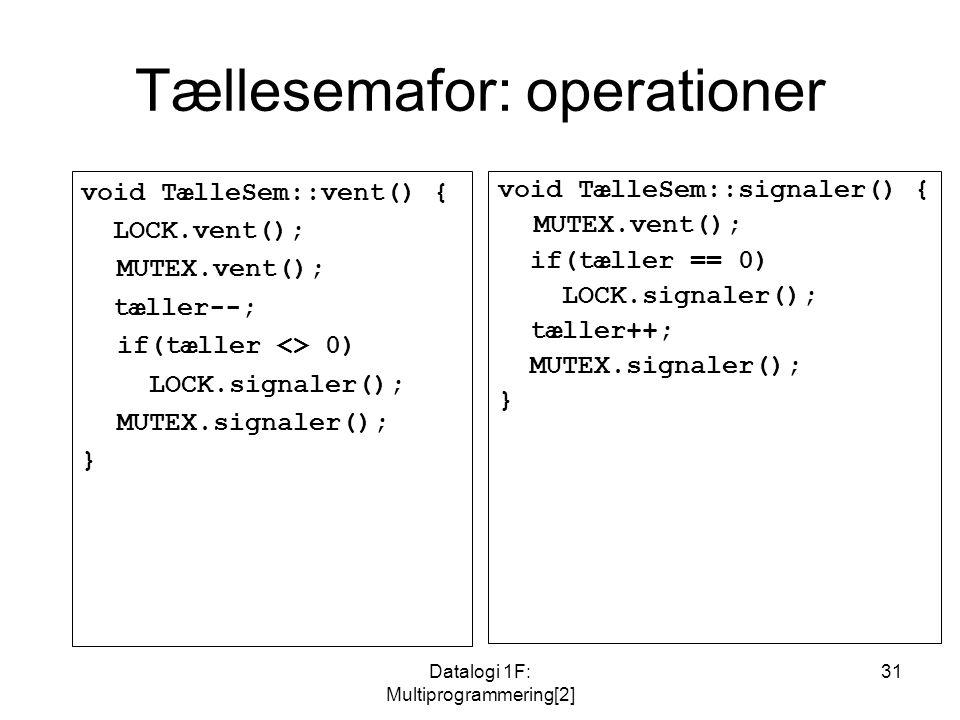 Datalogi 1F: Multiprogrammering[2] 31 Tællesemafor: operationer void TælleSem::vent() { LOCK.vent(); MUTEX.vent(); tæller--; if(tæller <> 0) LOCK.signaler(); MUTEX.signaler(); } void TælleSem::signaler() { MUTEX.vent(); if(tæller == 0) LOCK.signaler(); tæller++; MUTEX.signaler(); }