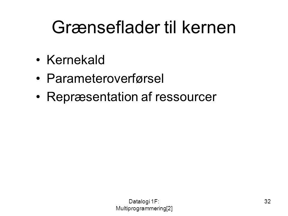 Datalogi 1F: Multiprogrammering[2] 32 Grænseflader til kernen Kernekald Parameteroverførsel Repræsentation af ressourcer