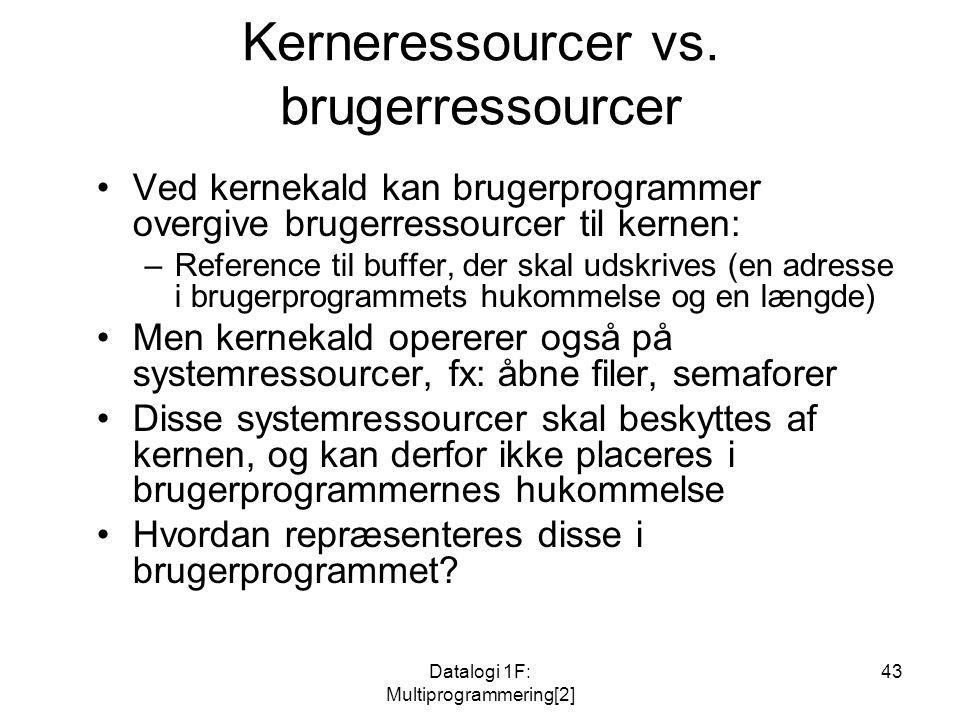 Datalogi 1F: Multiprogrammering[2] 43 Kerneressourcer vs.
