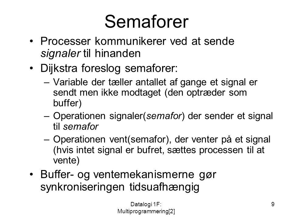 Datalogi 1F: Multiprogrammering[2] 9 Semaforer Processer kommunikerer ved at sende signaler til hinanden Dijkstra foreslog semaforer: –Variable der tæller antallet af gange et signal er sendt men ikke modtaget (den optræder som buffer) –Operationen signaler(semafor) der sender et signal til semafor –Operationen vent(semafor), der venter på et signal (hvis intet signal er bufret, sættes processen til at vente) Buffer- og ventemekanismerne gør synkroniseringen tidsuafhængig