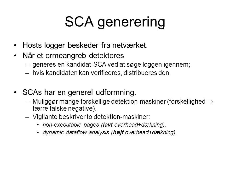 SCA generering Hosts logger beskeder fra netværket.