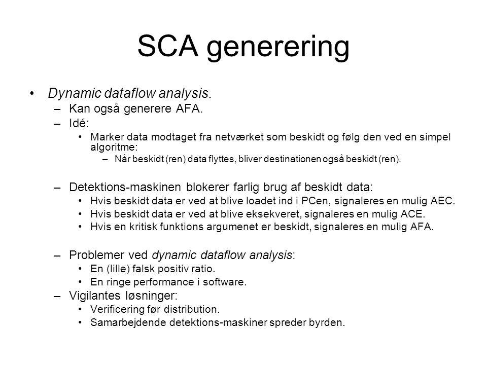 SCA generering Dynamic dataflow analysis. –Kan også generere AFA.