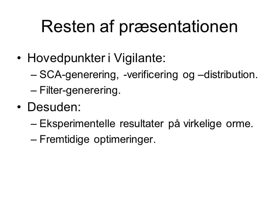 Resten af præsentationen Hovedpunkter i Vigilante: –SCA-generering, -verificering og –distribution.